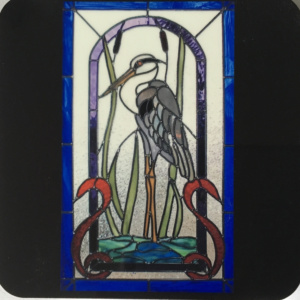 Great Blue heron cork backed coaster.
